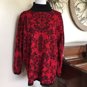 Diane Von Furstenberg Size 2X Red & Black Sweater